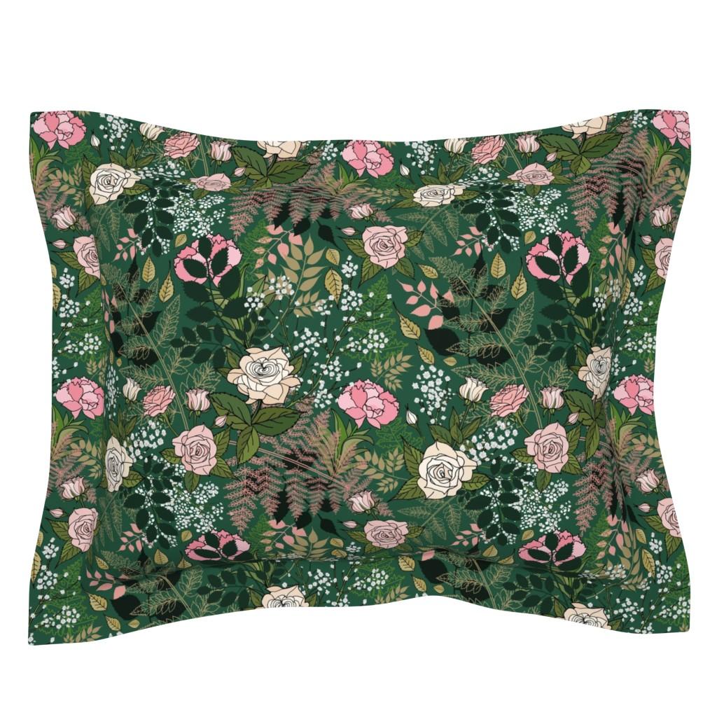 Sebright Pillow Sham featuring Baby's Breath, Roses and Ranunculus by irishvikingdesigns