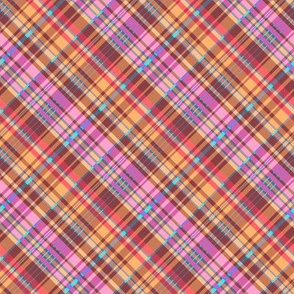 Golden Brown Red Pink Madras Plaid