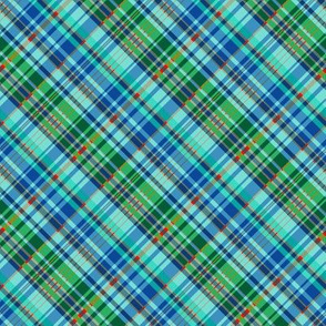 Sea Blue and Green Madras Plaid