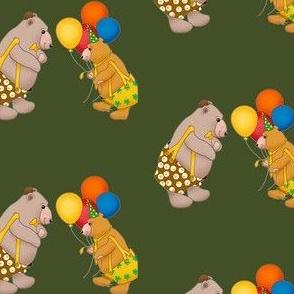 Birthday bears with balloons.