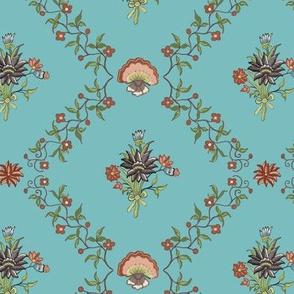 1770´s cotton Francaise blue-green