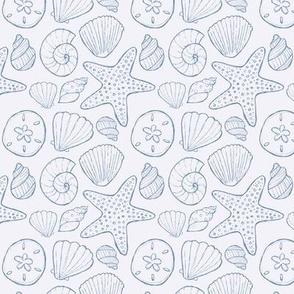 Seashells and Starfish Light Blue