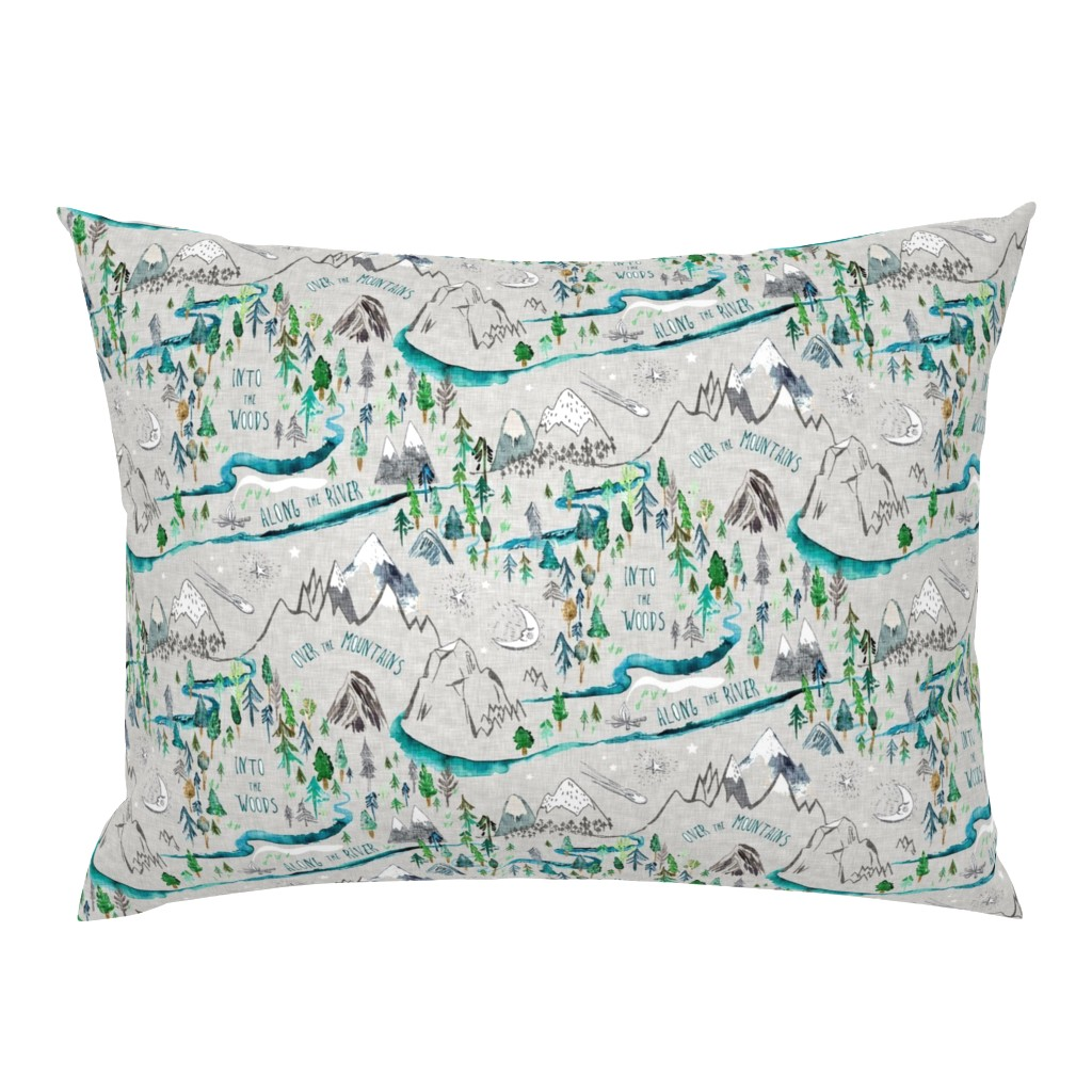 Campine Pillow Sham featuring Let's Go Adventuring (stone) MED by nouveau_bohemian