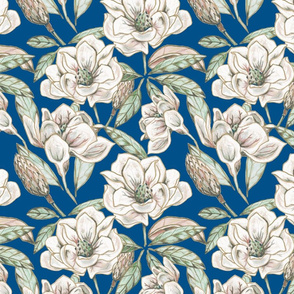 Mixed Media Magnolia- on Blue
