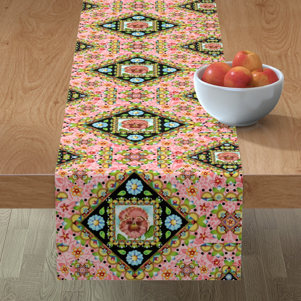 Minorca Table Runner featuring Cottage Garden Folkloric by patriciasheadesigns