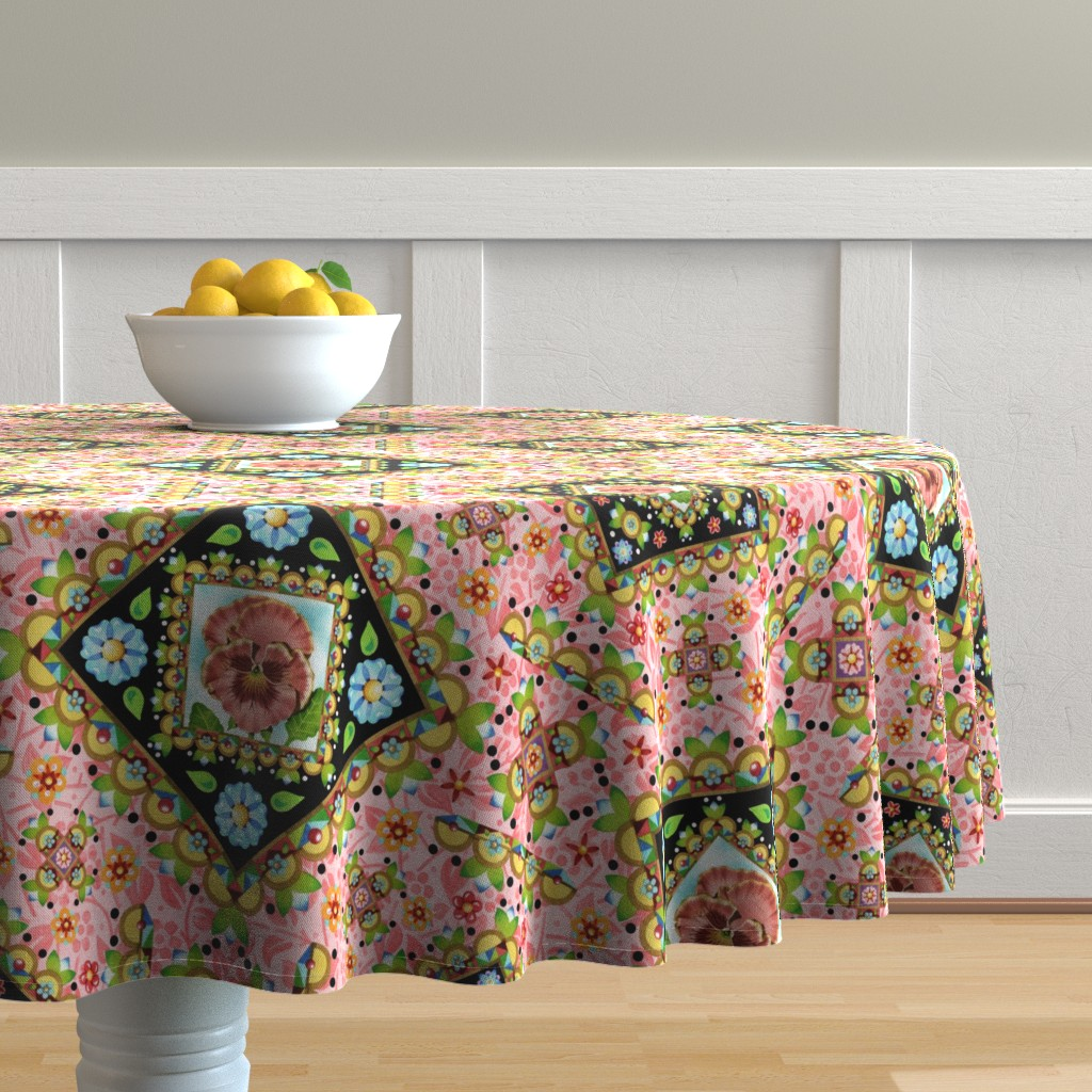 Malay Round Tablecloth featuring Cottage Garden Folkloric by patriciasheadesigns