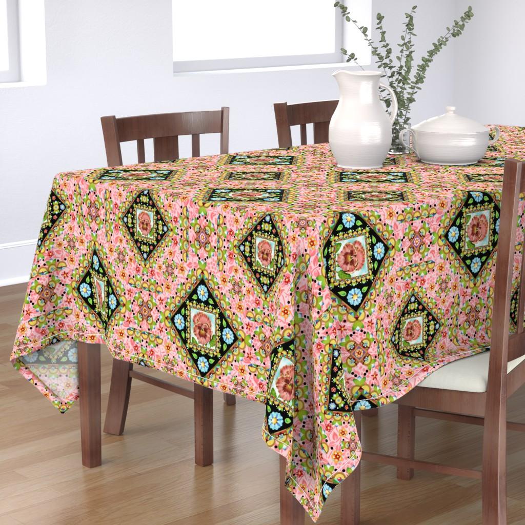 Bantam Rectangular Tablecloth featuring Cottage Garden Folkloric by patriciasheadesigns