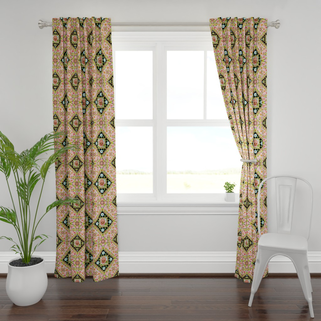 Plymouth Curtain Panel featuring Cottage Garden Folkloric by patriciasheadesigns