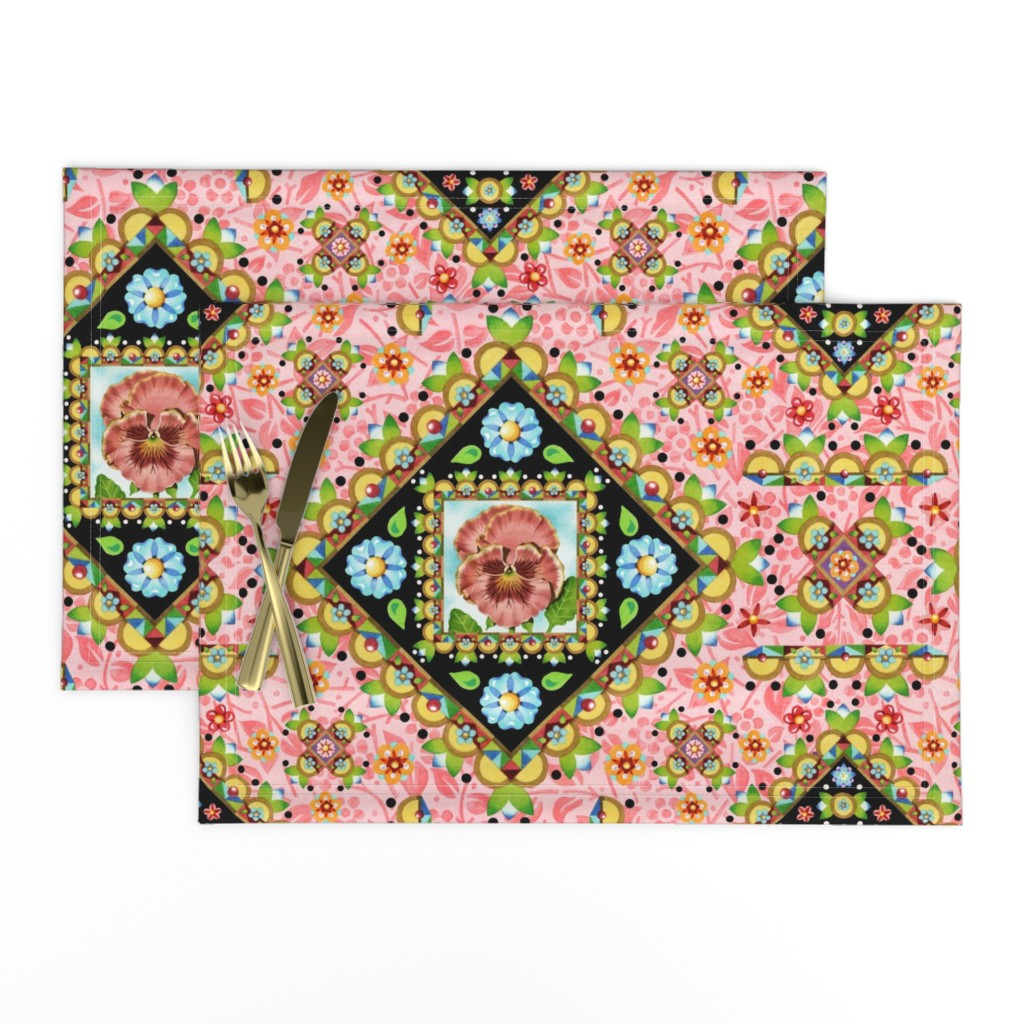 Lamona Cloth Placemats featuring Cottage Garden Folkloric by patriciasheadesigns