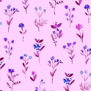 Pretty blue meadow flowers on pink || watercolor floral pattern
