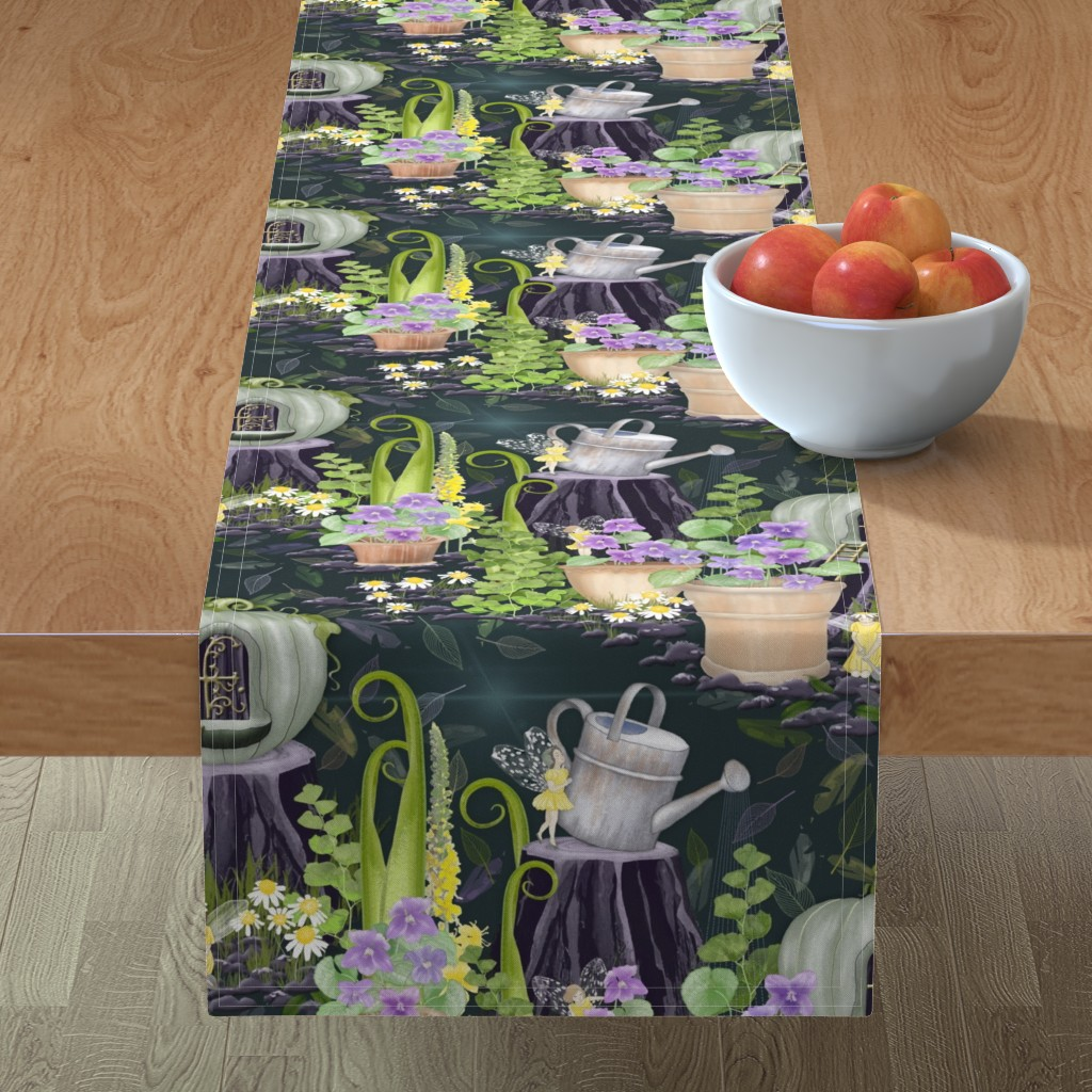 Minorca Table Runner featuring The Bottom of the Garden by j9design
