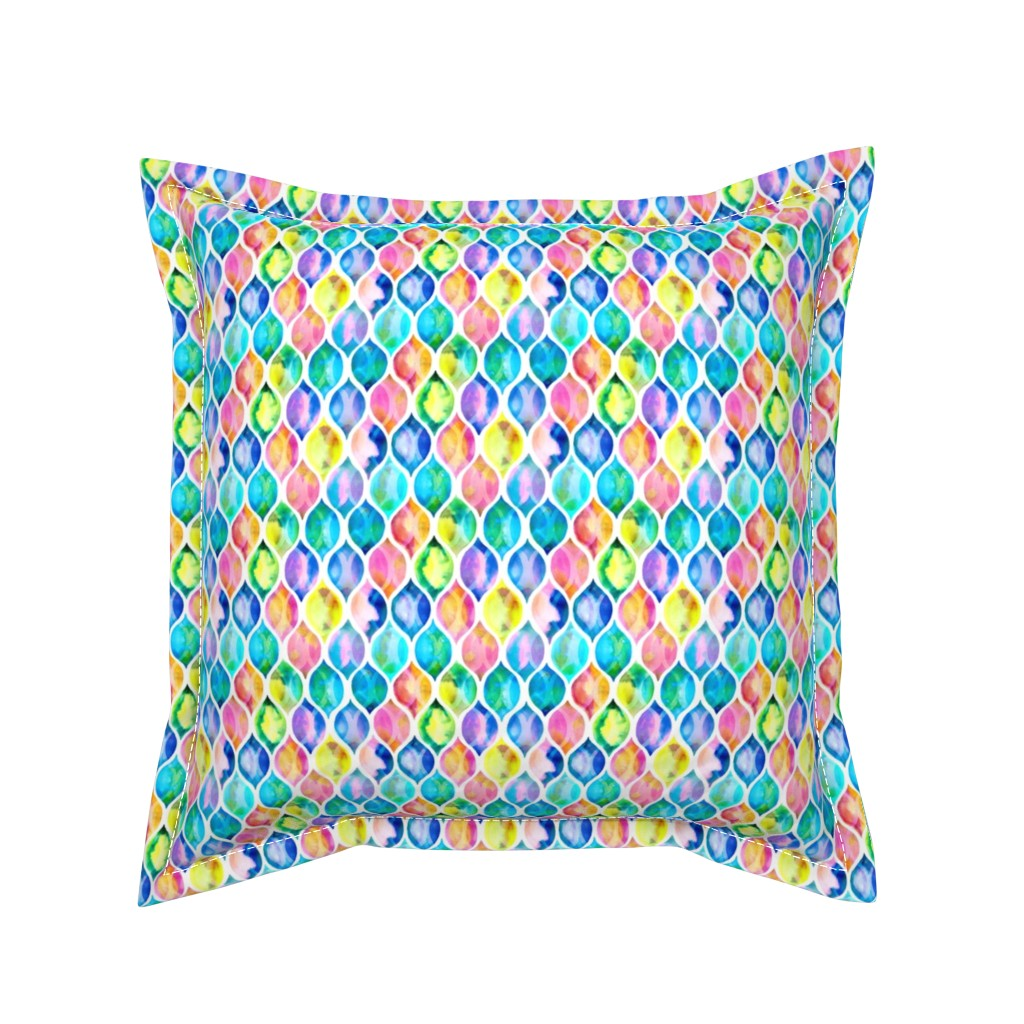 Serama Throw Pillow featuring Extra small Radiant Rainbow Watercolor Ogee Pattern by micklyn
