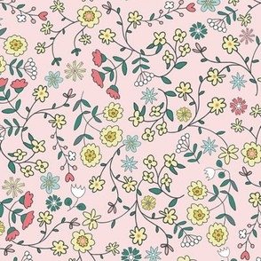 ditsy flowers meadow blush - small scale