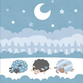 "Sleepy Sheep Blankets 13.5""x18"" Blue"