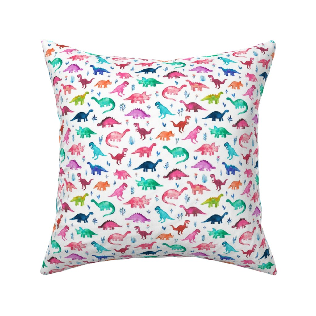Catalan Throw Pillow featuring Tiny Multicolored Dinos on White by micklyn