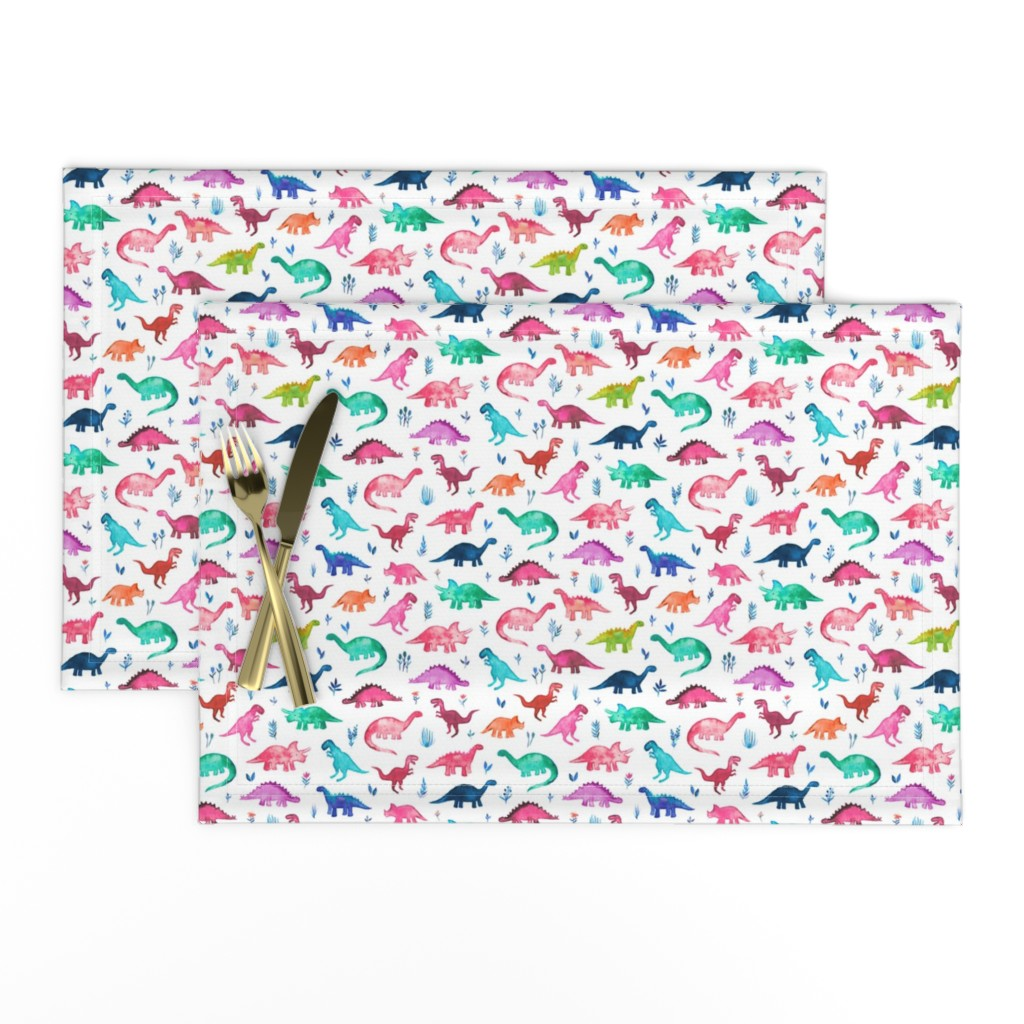 Lamona Cloth Placemats featuring Tiny Multicolored Dinos on White by micklyn