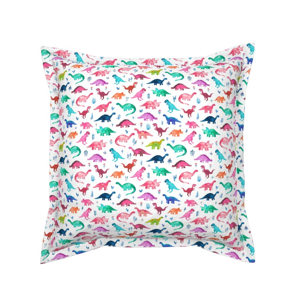 Serama Throw Pillow featuring Tiny Multicolored Dinos on White by micklyn