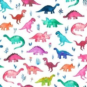 Tiny Multicolored Dinos on White