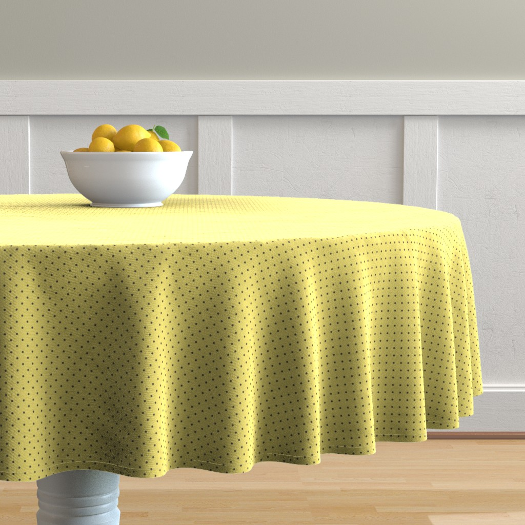 Malay Round Tablecloth featuring Tiny brown polka dots on yellow by petitspixels