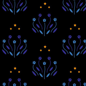 Blue Tulips in the Night
