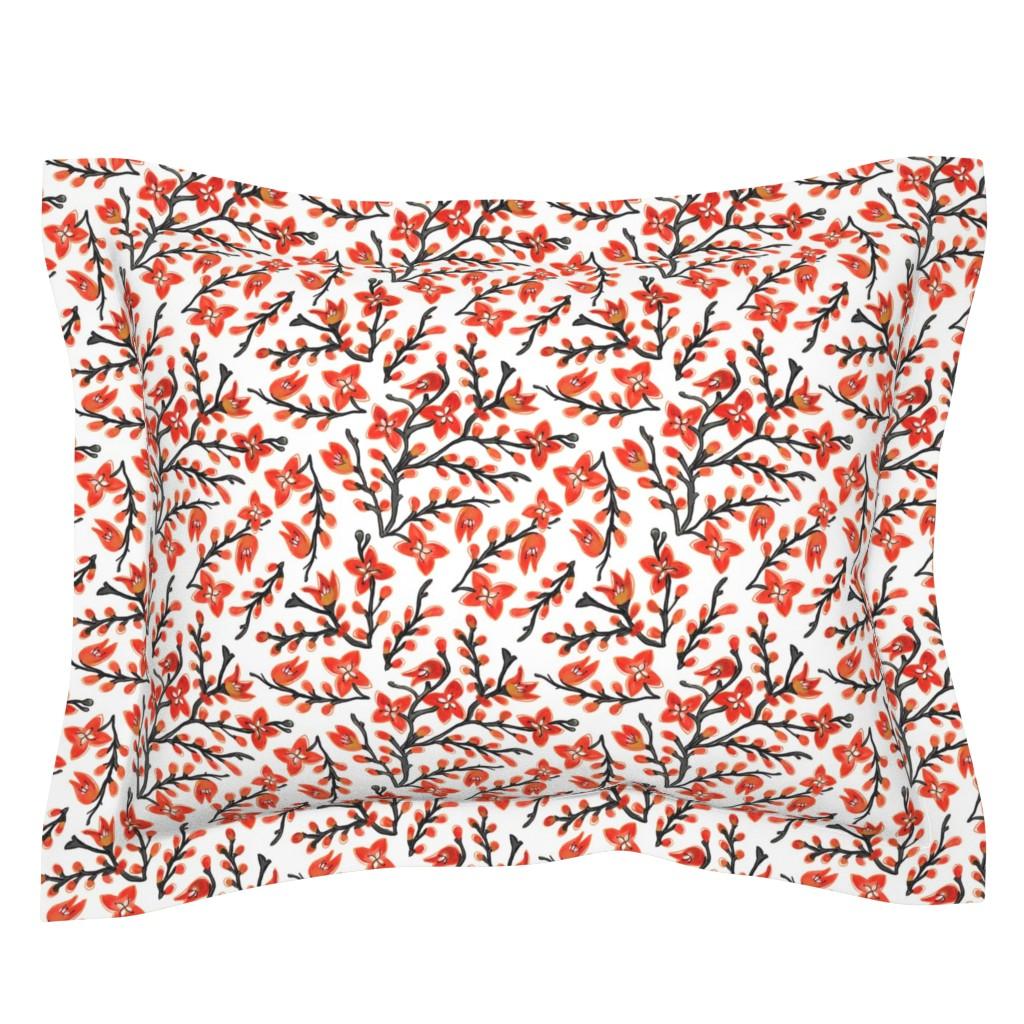 Sebright Pillow Sham featuring Montbretia Floral Design by woodmoonstudio