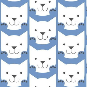 Paws Up! Smiling Cats in Blue and White
