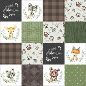 Woodland Animal Tracks Quilt Top – Brown + Green Patchwork Cheater Quilt, Style F