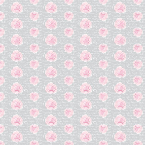 Shabby Chic Painted Roses on Summer Taupe with white French script-ch-ch-ch-ch