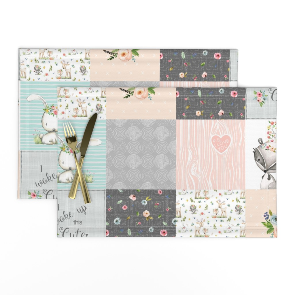 Lamona Cloth Placemats featuring Woodland Friends Nursery Patchwork Quilt - I Woke Up This Cute Wholecloth Deer Fox Raccoon Bunny (Grey Blush) GingerLous by gingerlous