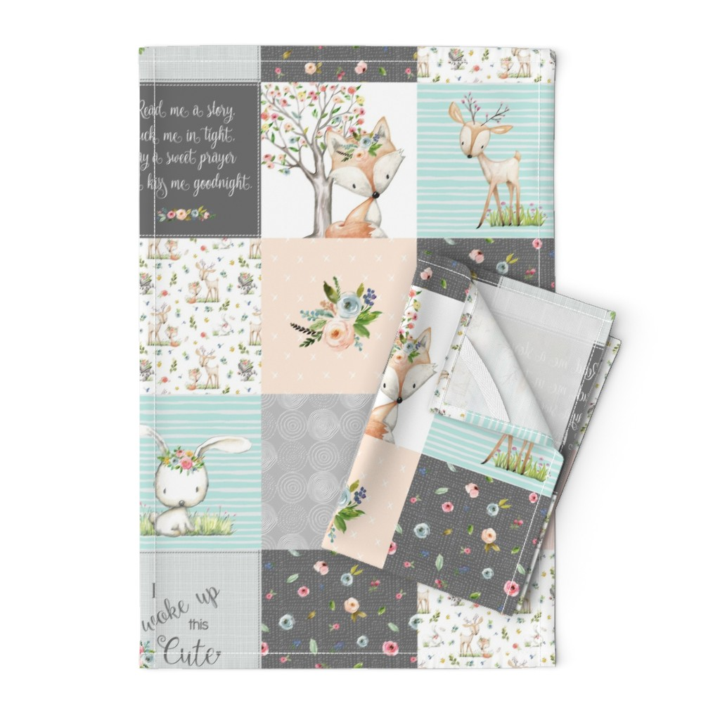 Orpington Tea Towels featuring Woodland Friends Nursery Patchwork Quilt - I Woke Up This Cute Wholecloth Deer Fox Raccoon Bunny (Grey Blush) GingerLous by gingerlous