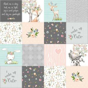 Woodland Friends Nursery Patchwork Quilt - I Woke Up This Cute Wholecloth Deer Fox Raccoon Bunny (Grey Blush) GingerLous