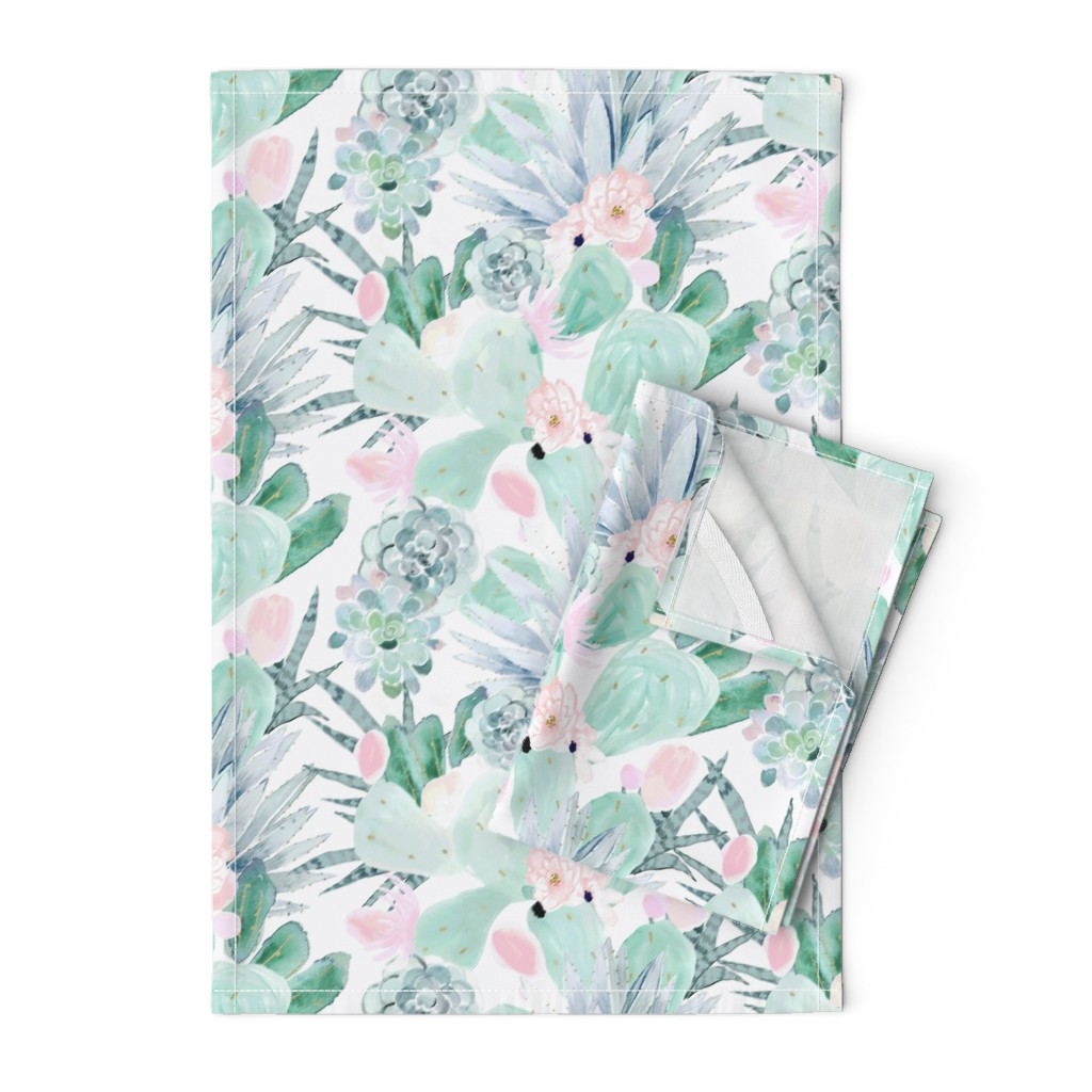 Orpington Tea Towels featuring pastel cactus floral - white by crystal_walen