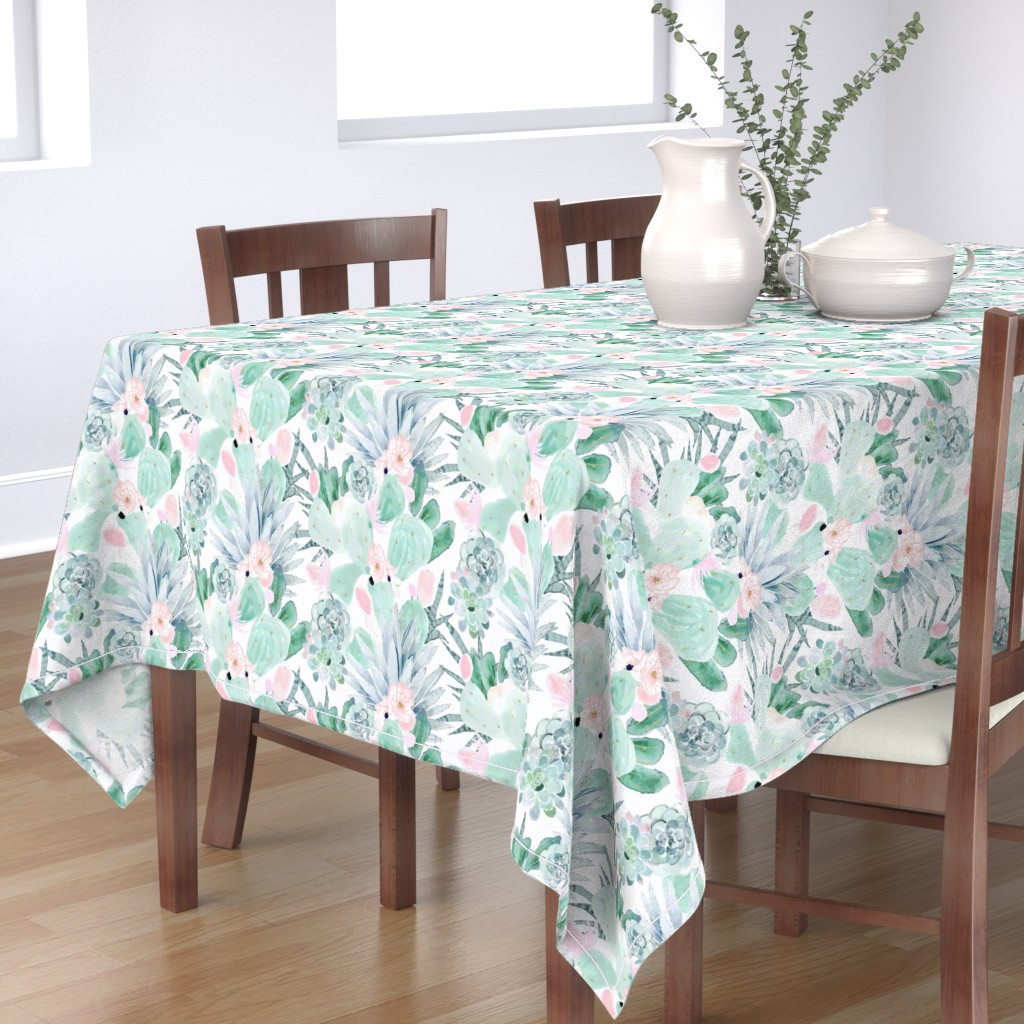 Bantam Rectangular Tablecloth featuring pastel cactus floral - white by crystal_walen