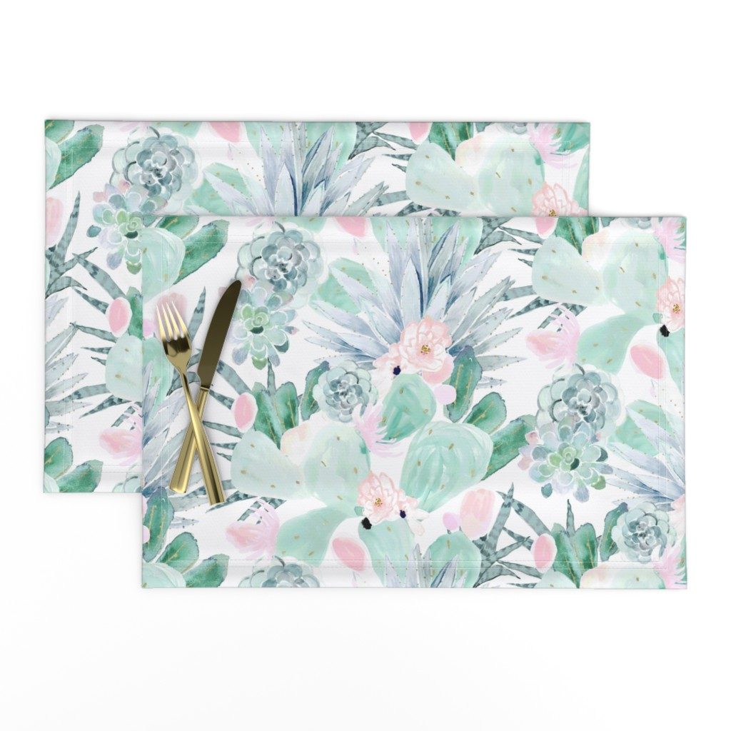 Lamona Cloth Placemats featuring pastel cactus floral - white by crystal_walen
