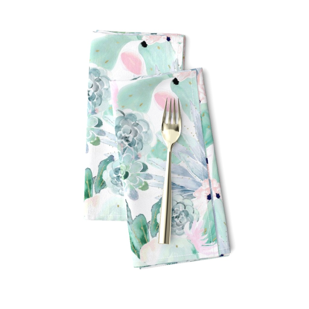 Amarela Dinner Napkins featuring pastel cactus floral - white by crystal_walen