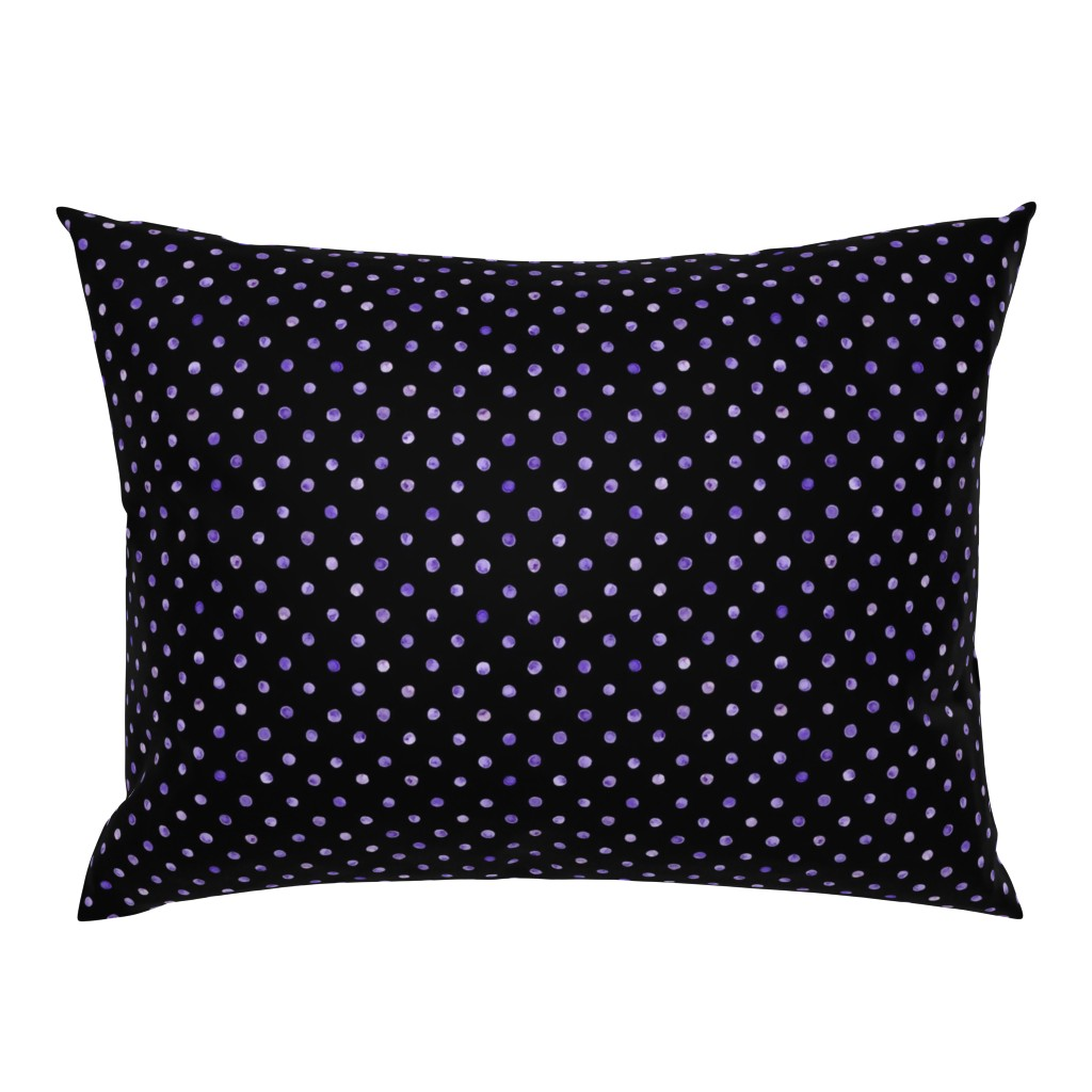Campine Pillow Sham featuring watercolor polka dots on black by ghouk