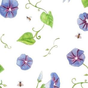 morning glories  (large) + bees on white / room decor kids baby nursery