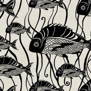 0018 Fish black seamless pattern vintage