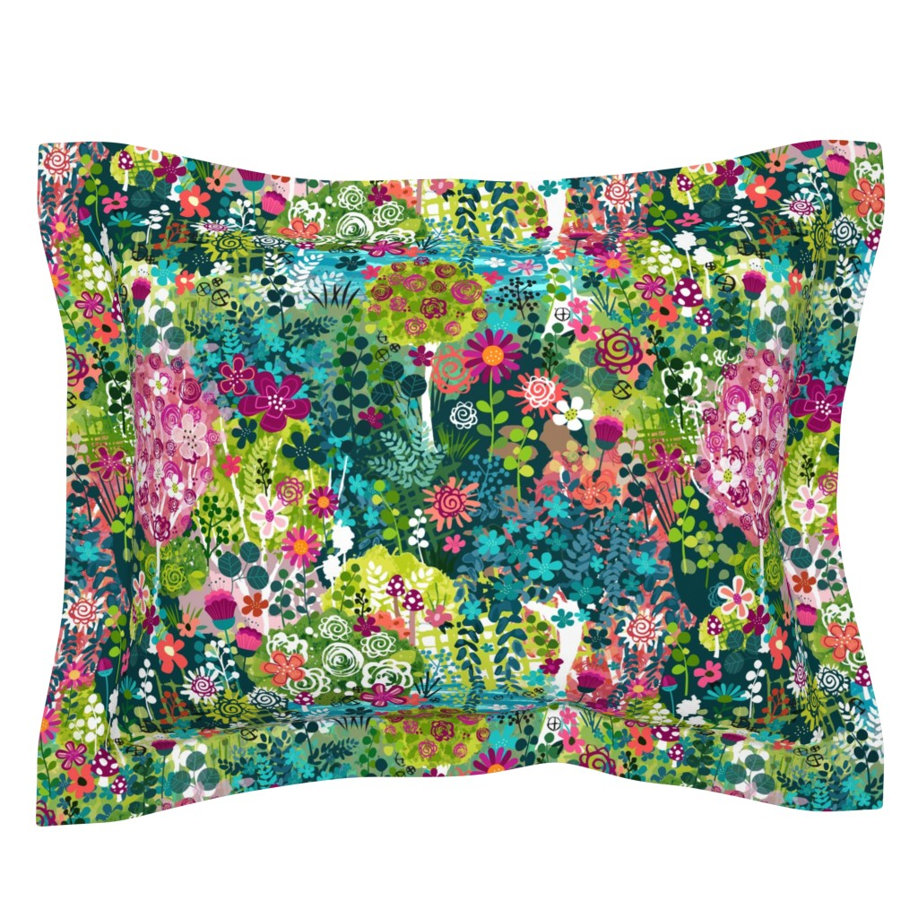 Sebright Pillow Sham featuring Monet's Garden by sarah_treu