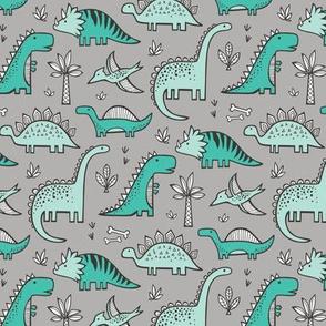 Dinosaurs on Grey Smaller