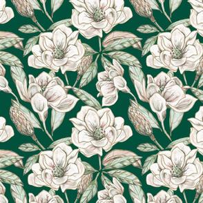 Mixed media magnolia, on green