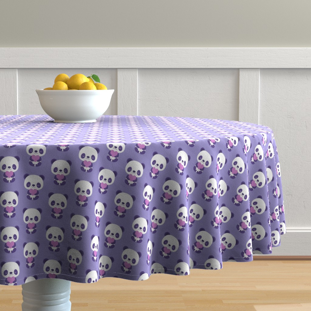 Malay Round Tablecloth featuring Cute purple baby pandas by petitspixels