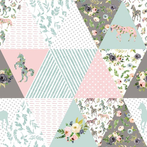 """blush floral horse cheater quilt - 6"""" triangles"""
