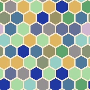 18-07U Hexagon Olive blue periwinkle purple mint green cream taupe