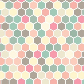 18-07T Hexagon Pastel yellow taupe blush pink peach coral tan teal green white hexagon hexie dots spots _ miss chiff Designs