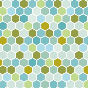 18-07M Hexagon Nautical Olive Blue Mint Green