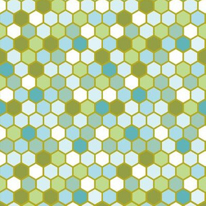 18-07L Nautical Hexagon Olive Blue Mint Green