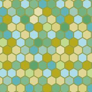 18-07J Hexagon Dark Nautical Olive Blue Mint Green