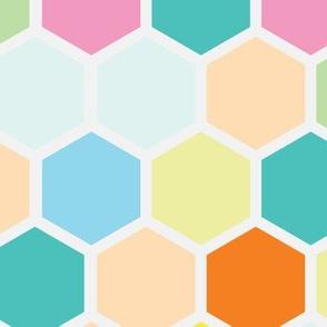 18-07H  Hexagon Rainbow Dots Peach Yellow Teal Aqua Orange Mint Green