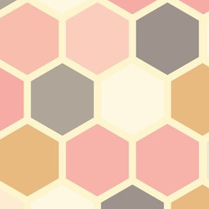 18-07D Hexagon pink grey gray mustard yellow cream dots